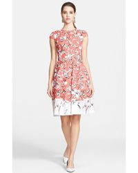 Oscar de la Renta Print Stretch Cotton Canvas Dress - Lyst
