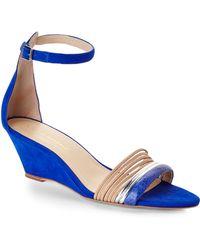 Loeffler Randall Blue Addie Wedge Sandals - Lyst