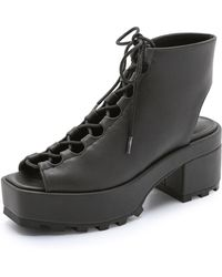 Cheap Monday Trapped Open Toe Booties - Black - Lyst