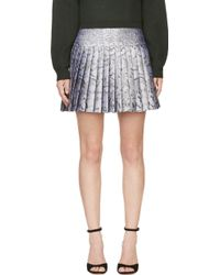Mary Katrantzou Silver Jacquard Cookie Print Pleated Skirt - Lyst