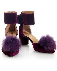 House of Holland - Aw14 'debauched Debutantes' Purple Pom Pom Shoes - Lyst