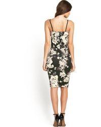 Lipsy Monochrome Floral Midi Dress - Lyst