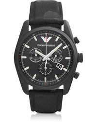 Emporio Armani Sport Black Men'S Chronograph Watch W/Camouflage Print Canvas Strap - Lyst