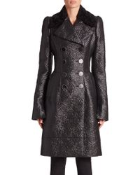 Alexander McQueen | Double-breasted Textured Rose Coat | Lyst
