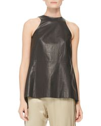 Adam Lippes Womens Pleated Silkinset Leather Top Black - Lyst