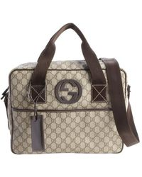 Gucci Beige and Cocoa Gg Plus Canvas Medium Travel Briefcase - Lyst