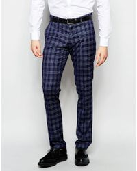 Vito - Super Skinny Check Suit Trousers With Stretch - Lyst