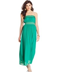 American Rag Strapless Embroidered Maxi Dress - Lyst