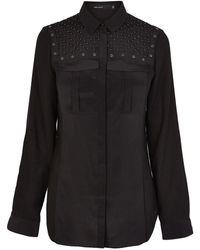 Karen Millen Geometric Beaded Shirt - Lyst