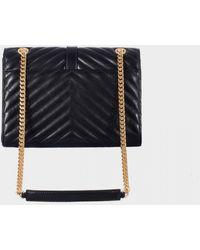 Saint Laurent Black Leather Medium Monogram Bag - Lyst