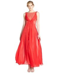 ABS By Allen Schwartz Peony Silk Chiffon And Lace Illusion Gown - Lyst