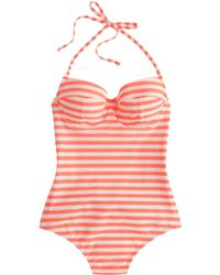 J.Crew Striped Underwire One-Piece Swimsuit pink - Lyst