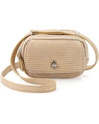 Etienne Aigner - Preface Snake Embossed Distressed Leather Mini Crossbody Bag - Lyst