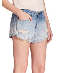 Rag & Bone/JEAN The Marilyn Distressed Denim Shorts blue - Lyst
