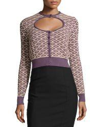 M Missoni Knit Cutout Cardigan Sweater - Lyst