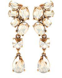 Oscar de la Renta Vintage Crystal-Embellished Clip-On Earrings - Lyst