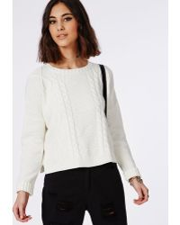 Missguided Cable Oversize Knitted Jumper - Lyst