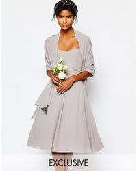 TFNC | Wedding Chiffon Cover Up With Embellishment In Opal Grey | Lyst