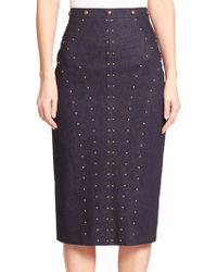 Tamara Mellon Studded Denim Pencil Skirt - Lyst