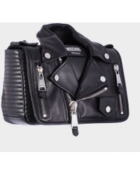 Moschino Black Leather Biker Shoulder Bag - Lyst