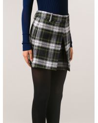 McQ by Alexander McQueen Tartan Pleat Mini Skirt - Lyst