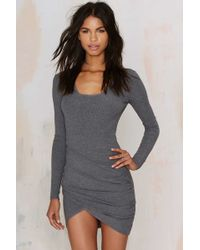 Nasty Gal | Live And Let Die Ribbed Dress - Heather Gray | Lyst
