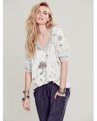 Free People Distressed V-Neck Pullover - Lyst