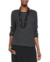 Eileen Fisher Striped Cottonal Paca Box Top - Lyst