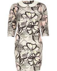 River Island Grey Floral Jacquard Shift Dress - Lyst