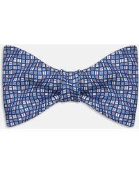 Turnbull & Asser | Wavy Squares Tonal Blue Silk Bow Tie | Lyst