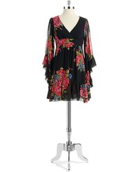Betsey Johnson Bell Sleeved Floral Dress - Lyst
