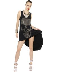 Philipp Plein Embellished Jersey High Low Dress - Lyst