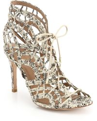 Joie Leah Caged Snakeskin-Embossed Leather Sandals - Lyst