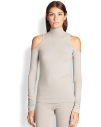 Donna Karan New York Cold-Shoulder Turtleneck Sweater - Lyst