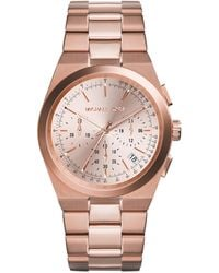 Michael Kors Midsize Rose Golden Stainless Steel Channing Chronograph Watch - Lyst