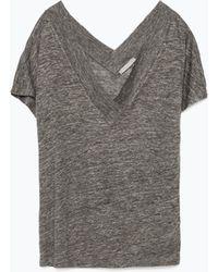 Zara Linen T-Shirt - Lyst