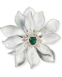 Alexis Bittar Fancy Green Crystal-encrusted Articulating Flower Brooch - Lyst
