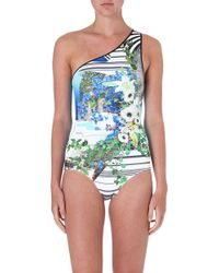 Clover Canyon Corfu Swirl One Shoulder Swimsuit Multi - Lyst