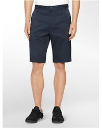 Calvin Klein White Label Performance Classic Fit Solid Twill Shorts blue - Lyst