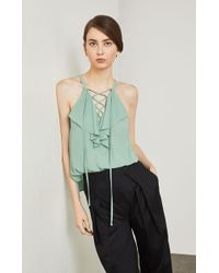 BCBGMAXAZRIA - Lace-up Ruffle Tank Top - Lyst