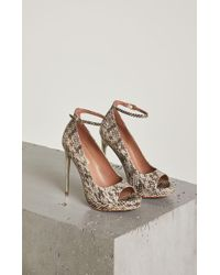 BCBGMAXAZRIA - Becky Snakeskin Leather Ankle-strap Pump - Lyst