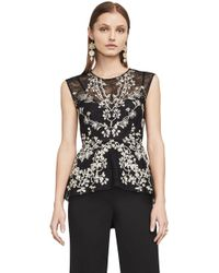 BCBGMAXAZRIA - Jaxie Embroidered Lace Peplum Top - Lyst