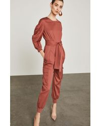 BCBGMAXAZRIA - Bcbg Pleated Cotton Jumpsuit - Lyst