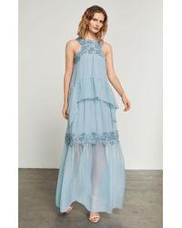 BCBGMAXAZRIA - Lace Applique Silk Halter Gown - Lyst