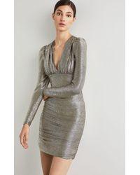 BCBGMAXAZRIA - Bcbg Metallic Shirred Bodycon Dress - Lyst