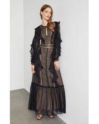 BCBGMAXAZRIA - Bcbg Metallic Embroidered Maxi Dress - Lyst
