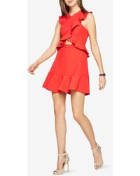 BCBGMAXAZRIA - Careen Ruffled Cutout Dress - Lyst