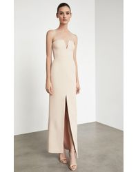 BCBGMAXAZRIA - Strapless Notch V Gown - Lyst