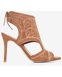 BCBGMAXAZRIA - Myah Embroidered Faux-suede Sandal - Lyst