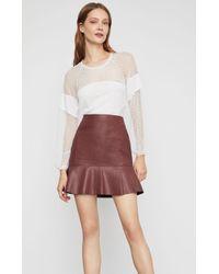 BCBGMAXAZRIA - Bcbg Faux Leather Flounced Skirt - Lyst
